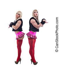 Two transvestites posing in white go-go wigs - Full length...