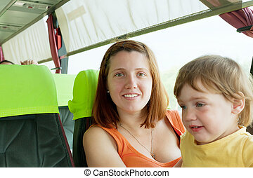 Mother and child traveling in autobus Focus on woman