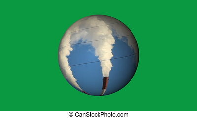 Thermal power generation on a globe. Generation, energy...