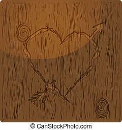 Heart shape carved into wood - Illustration of heart carved...