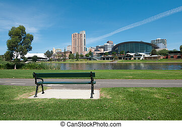 Adelaide Skyline as viewed from Pinky Flat, empty bench in...