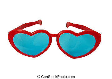 Heart shaped glasses - Novelty heart shaped glasses on white...