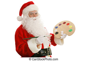 Artist Santa - Santa Claus with an artists palette and paint...