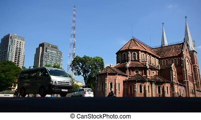 Notre Dame of Saigon - Time laspe of busy street in front of...