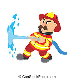 an illustration of cartoon fireman ,vector