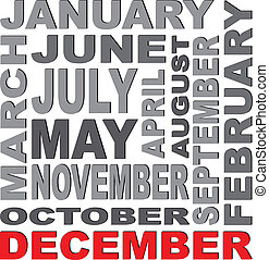 months - Writing of the names of 12 months, in different...