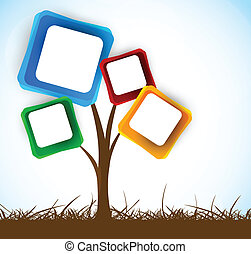 Background with tree - Abstract tree with squares element...