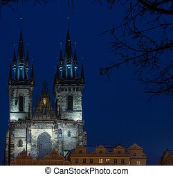 View of a Church of Our Lady before Tyn at night