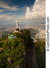 Christ the Redeemer statue on Corcovado mountain in Rio de...
