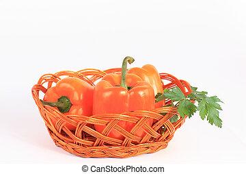 fresco, pimenta, legumes, isolado