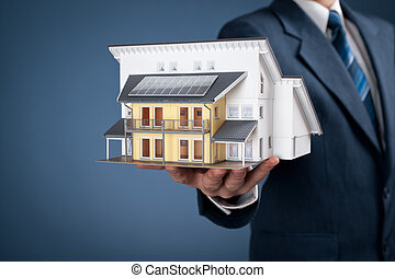 House - Real estate agent offer house represented by model