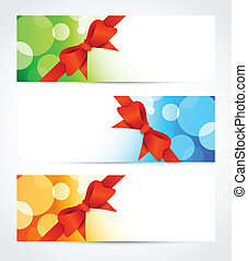 Set of bright banners with bow