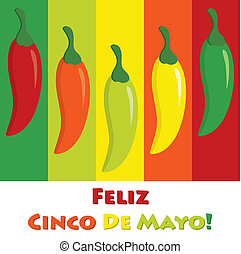 Cinco De Mayo - Cinco de Mayo chili pepper greeting cards in...