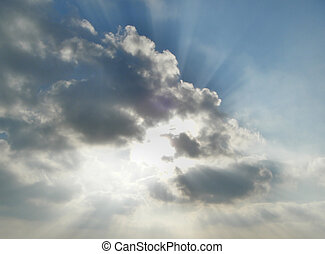 Weather forecast - beautiful sky scene with the sun rays...