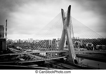 Bridge in Sao Paulo city - Black and white scenic view of...