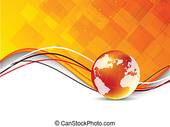 Tech background with globe. Abstract orange illustration