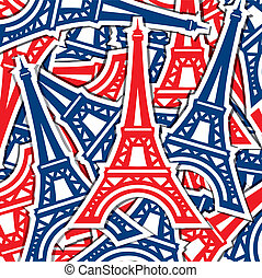 Happy Bastille Day - Eiffel Tower sticker card in vector...