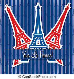 Happy Bastille Day! - Eiffel tower sticker Bastille Day card...