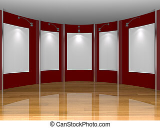red gallery wall