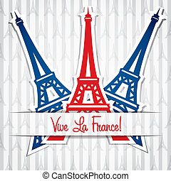 Happy Bastille Day - Eiffel tower sticker Bastille Day card...