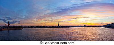 St. Petersburg in morning - View of St. Petersburg. Neva...