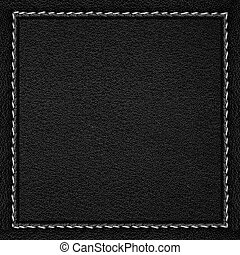 black leather background in dark leathery frame with seam