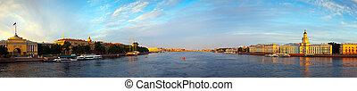 Neva river in morning. Saint Petersburg, Russia - Panoramic...