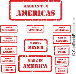 Made In America Stamps - Set of red rubber stamps of Made In...