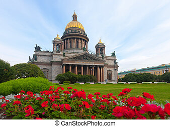 Saint Isaacs Cathedral in St Petersburg in summer Russia