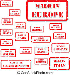 Made In Europe Stamps - Set of red rubber stamps of Made In...