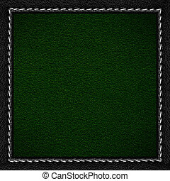 green leather background in black leathery frame with seam