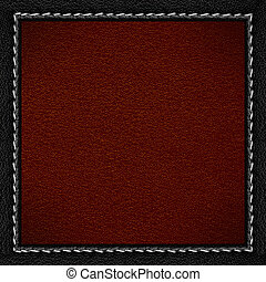 red leather background in black leathery frame with seam