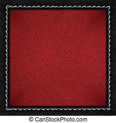 red grainy paper background in black leathery frame with...