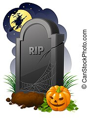 Gravestone - Halloween illustration of gravestone with...