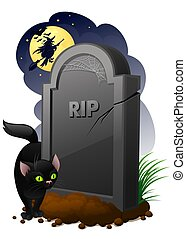 Gravestone - halloween illustration of gravestone with black...