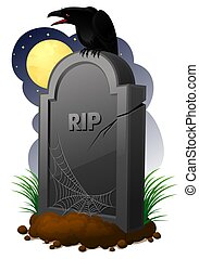 Gravestone - halloween illustration of gravestone with crow...