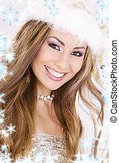 santa helper girl with snowflakes - picture of santa helper...