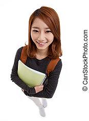 Beautiful student high angle shot