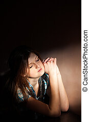 woman suffering from a severe depression - Young woman...