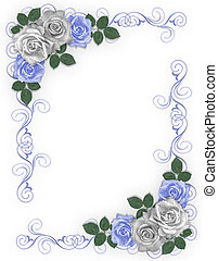 Roses Blue and white Wedding Border - 3D Illustrated Blue...