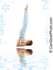 salamba sarvangasana supported shoulderstand - sporty girl...