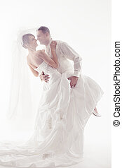 Wedding couple dancing and happy smiling. Bride and groom...