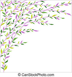 Green and lilac leaves border. Abstract floral background -...