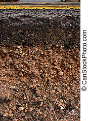 Road cross section showing soil underneath