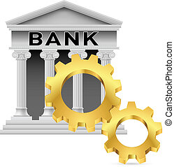 Bank icon - Concept with Gear Wheel and Bank Illustration on...