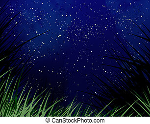 Starry night sky with a grass fringe