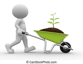 Wheelbarrow - 3d people - man, person with a wheelbarrow and...