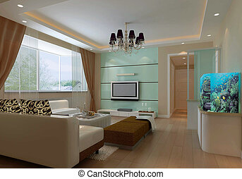 3d render modern interior of living-room - modern design...