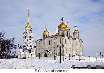 Uspenskiy cathedral at Vladimir in winter - Uspenskiy...