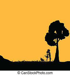 silhouettes couple with tree background